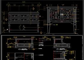 原创2019最新床头柜CAD图纸素材