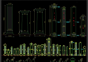 罗马柱CAD圆柱CAD栏杆CAD雕刻图库