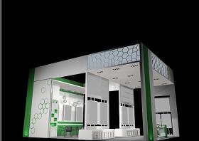 淺綠色背景展位特裝3D模型