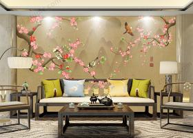 原创新中式工笔花鸟山水背景墙装饰画