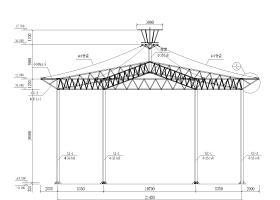 某公园六角形钢膜结构工程施工图(CAD)