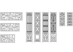 cad古建筑門窗及圍墻圖庫