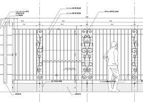 围墙设计详图(混凝土+铁艺)——泛亚景观